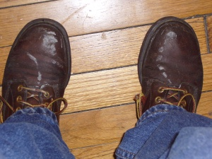 How the hell did I chalk on the TOPS of my boots?!